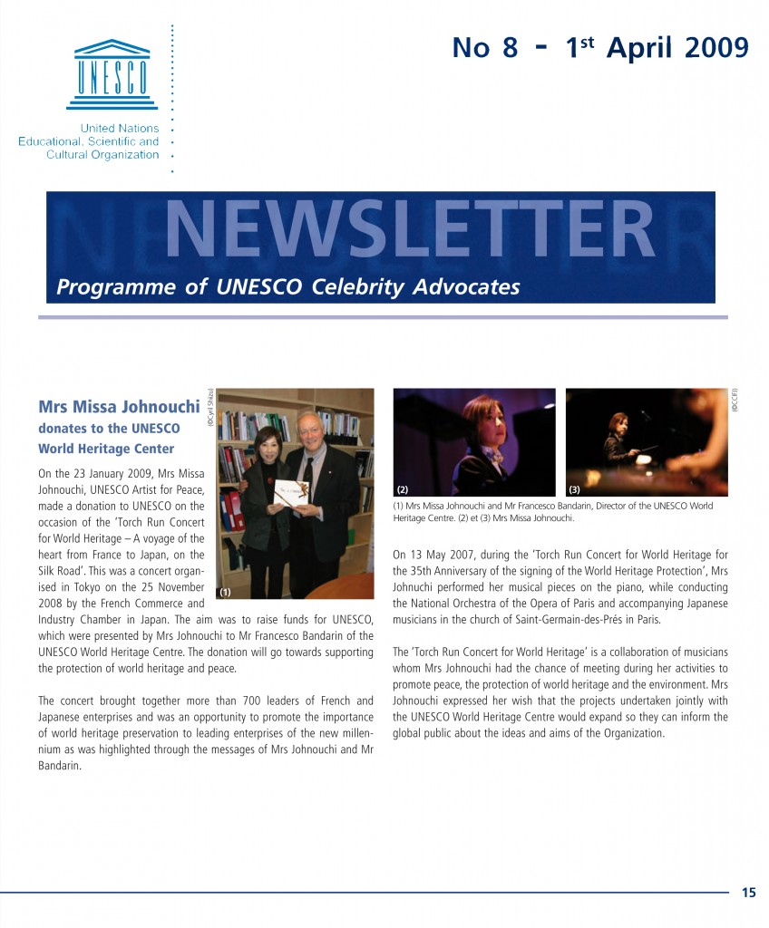 Newsletter: Programme of UNESCO Celebrity Advocates, no. 8, Apri